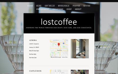 Screenshot of Locations Page lostcoffee.com - Locations — lostcoffee - captured Nov. 5, 2018