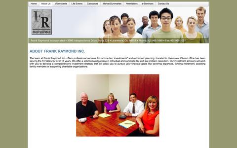 Screenshot of About Page frankraymondinc.com - About Us - Frank Raymond Incorporated - captured Oct. 6, 2014