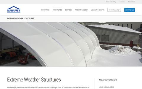Screenshot of mahaffeyusa.com - Extreme Weather Structures - captured March 20, 2016