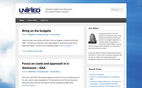 Screenshot of Blog unif-id.com - Unified | Leading UK/EU provider of legal technology e-Discovery/e-Disclosure and BPO/LPO support services to clients involved in the conduct of a range of legal matters. - captured Oct. 3, 2014