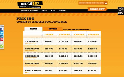 Screenshot of Pricing Page bungobox.ca - Pricing - captured Nov. 23, 2016