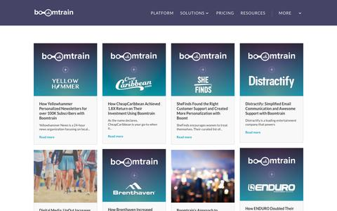 Screenshot of Case Studies Page boomtrain.com - Case Studies Archives - Boomtrain - captured Dec. 7, 2016