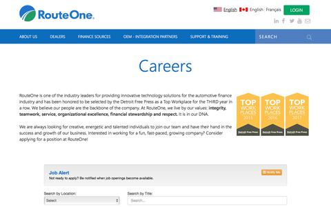 Screenshot of Jobs Page routeone.com - Careers | RouteOne - captured Jan. 22, 2018