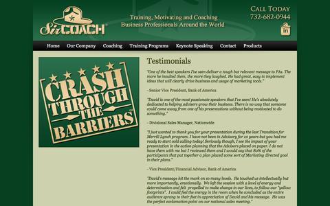 Screenshot of Testimonials Page sircoach.com - Testimonials: Professional Business Coaching For Financial Advisors, Planners - captured Feb. 27, 2016