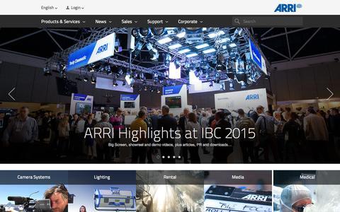 Screenshot of Home Page arri.com - ARRI Group: Home - captured Sept. 20, 2015