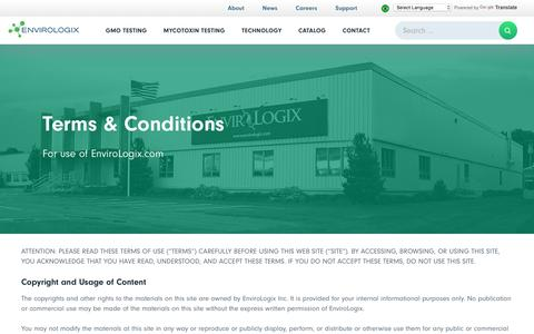 Screenshot of Terms Page envirologix.com - Terms & Conditions - EnviroLogix - captured May 19, 2017