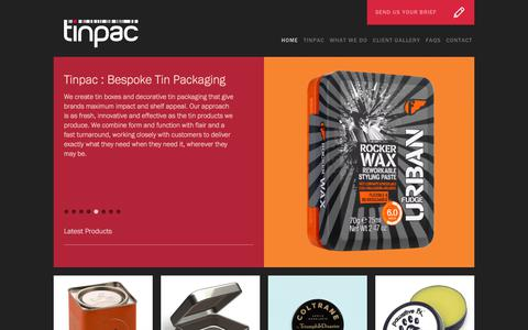 Screenshot of Home Page tinpac.com - Tinpac | Tinpac - Custom Tin Packaging - Metal Boxes & Tin Products - captured Sept. 21, 2018