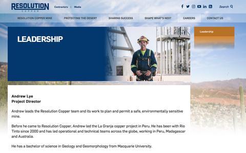 Screenshot of Team Page resolutioncopper.com - Leadership - Resolution Copper - captured Sept. 20, 2018