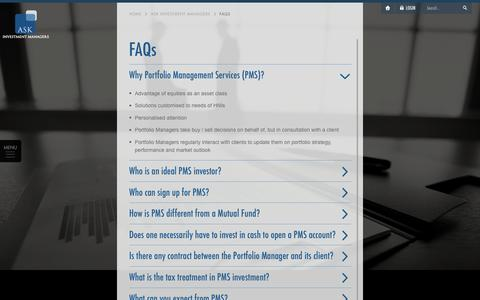 Screenshot of FAQ Page askfinancials.com - ASK Investment Managers - FAQs - captured Feb. 5, 2016