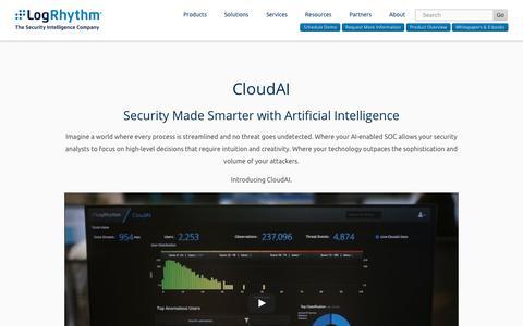 LogRhythm CloudAI | Artificial Intelligence Enabled Security | LogRhythm