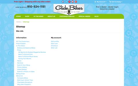 Screenshot of Site Map Page glidebikes.com - Sitemap - Glide Bikes - Easy to Glide, Fun to Ride! - Balance Bikes for 18mos to 10 years old! - captured Sept. 22, 2014