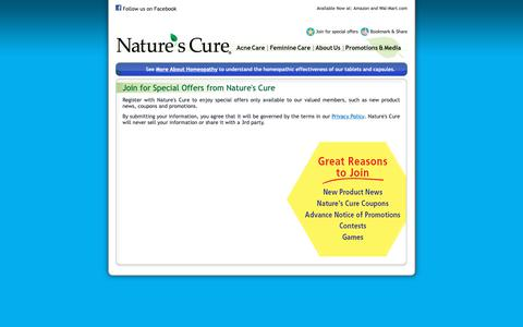 Screenshot of Signup Page naturescure.com - Join for Special Offers from Nature's Cure - captured Oct. 20, 2018