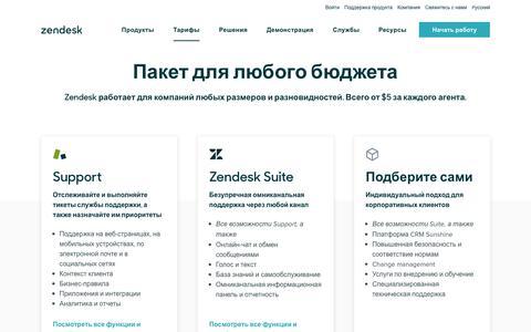 Screenshot of Pricing Page zendesk.com.ru - Тарифы Zendesk | Тарифные пакеты начинаются всего с 5 долларов в месяц - captured Nov. 5, 2019