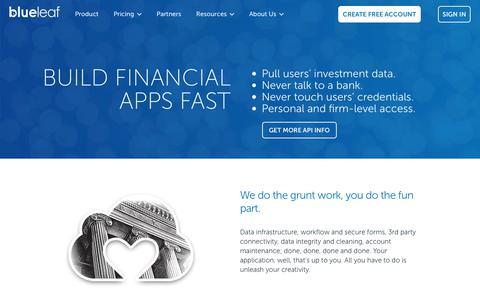 Screenshot of Developers Page blueleaf.com - Blueleaf for Developers - Build Financial Apps Fast - captured Feb. 16, 2020