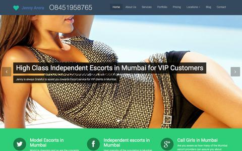 Screenshot of Home Page jennyarora.ind.in - Mumbai Escorts, Jenny Arora Independent Escort Service Girl - captured Sept. 20, 2016