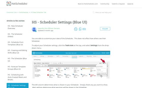 Screenshot of Support Page hotschedules.com - HS - Scheduler Settings (Blue UI) – Customer Care - captured March 8, 2018