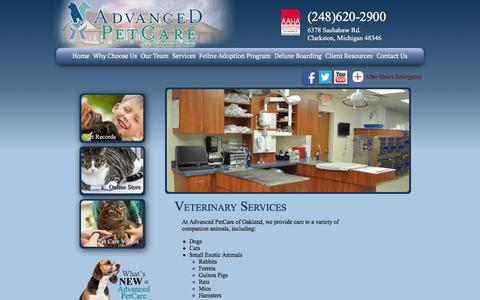 Screenshot of Services Page advanced-petcare.com - Advanced PetCare of Oakland | Oakland Animal Hospital - captured Feb. 5, 2016