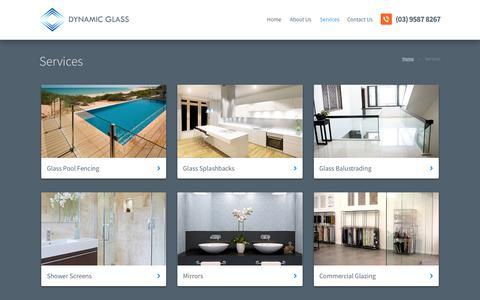 Screenshot of Services Page dynamicglass.com.au - Kitchen Glass Splashbacks Melbourne and Glass Balustrade Melbourne - captured Aug. 9, 2018