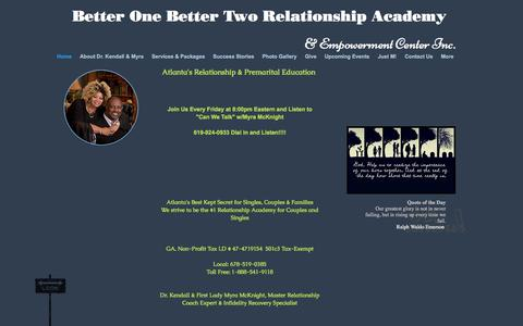 Screenshot of Home Page premaritalcounselingatlanta.com - Better One Better Two Relationship Academy - captured Oct. 18, 2016