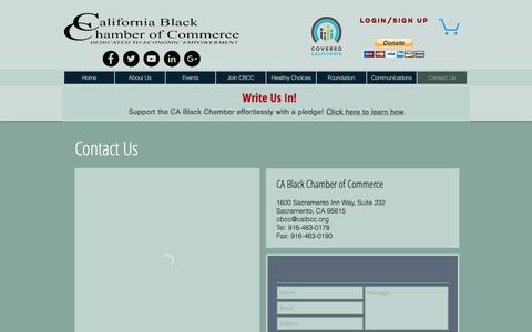 Screenshot of Contact Page calbcc.org - CA Black Chamber of Commerce | Dedicated to Economic Empowerment | Contact Us - captured Oct. 16, 2016