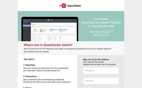 Screenshot of Landing Page opentable.com captured Sept. 11, 2017