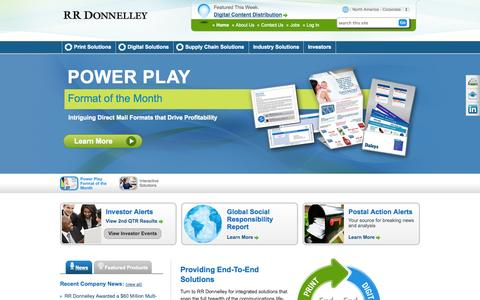 Screenshot of Home Page rrdonnelley.com - Print, Digital and Supply Chain Solutions | RR Donnelley - captured Sept. 19, 2014
