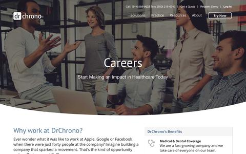 Screenshot of Jobs Page drchrono.com - Careers - Join Us | DrChrono - captured July 13, 2018