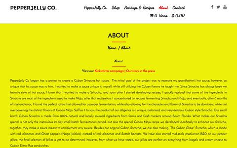 Screenshot of About Page pepperjellyco.com - About PepperJelly Co. - captured July 19, 2015