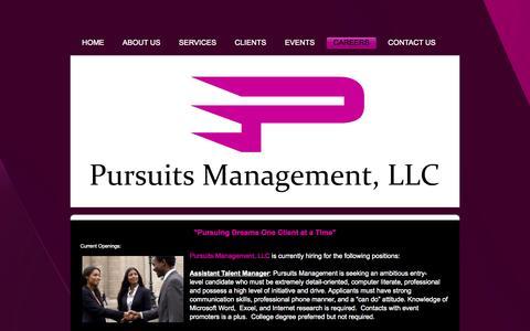 Screenshot of Jobs Page pursuitsmanagement.com - Careers - Pursuits Management - captured Oct. 3, 2014