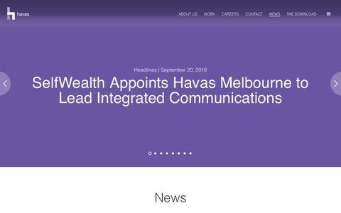 Screenshot of Press Page havas.com - News | Havas - captured Sept. 27, 2018