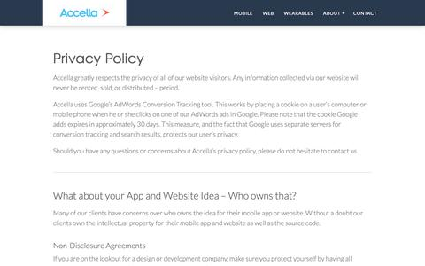 Screenshot of Privacy Page accella.net - Privacy Policy - Accella - captured Nov. 6, 2018