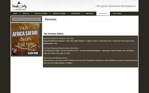 Screenshot of Testimonials Page bush2cityadventure.com - Reviews - Bush 2 City Adventures - captured Jan. 7, 2016