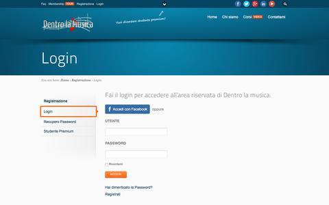 Screenshot of Login Page dentrolamusica.com - Login | Dentro la musica - captured Aug. 1, 2016
