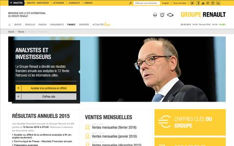 Screenshot of renault.com - Analystes & Investisseurs - captured March 29, 2016