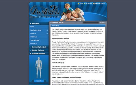 Screenshot of Terms Page drangeladc.com - The Free Clinic - Chiropractor In Cleveland, TN USA :: Terms Of Use - captured Oct. 2, 2014