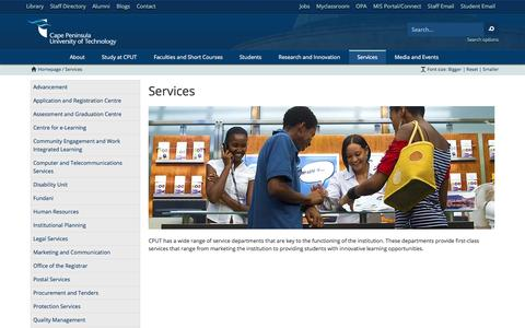 Screenshot of Services Page cput.ac.za - CPUT - Services - captured Oct. 1, 2014