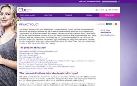 Screenshot of Privacy Page cordblood.com - Privacy Policy | Cord Blood Registry | CBR® - captured Sept. 24, 2014