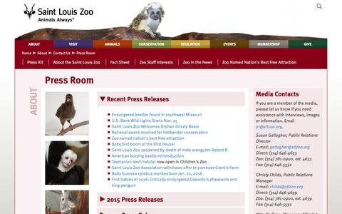 Screenshot of Press Page stlzoo.org - Press Room :: Saint Louis Zoo - captured Nov. 18, 2016