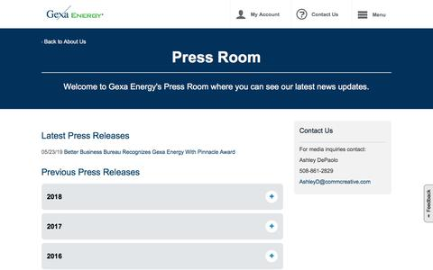 Screenshot of Press Page gexaenergy.com - Press Room News and Information | Gexa Energy - captured Aug. 8, 2019