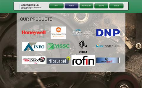Screenshot of Products Page coastaltek.com - CoastalTek Labeling and Coding Solutions | Products - captured Nov. 8, 2016