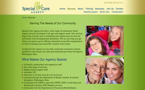 Screenshot of Services Page specialcareagency.com - Serving The Needs of Our Community - captured Oct. 1, 2014