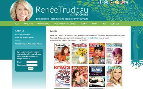 Screenshot of Press Page reneetrudeau.com - Work-Life Balance Speaker Media - Renee Trudeau & Associates - captured Nov. 30, 2016