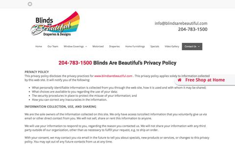 Screenshot of Privacy Page blindsarebeautiful.com - Privacy Policy - Blinds Are Beautiful - captured June 1, 2017