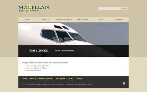 Screenshot of Terms Page magellangroup.net - Terms & Conditions | Magellan Aviation Group - captured Oct. 3, 2014