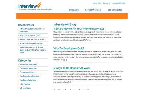 Screenshot of Blog interview4.com - Interview4 - About Interviewing - captured Sept. 19, 2018