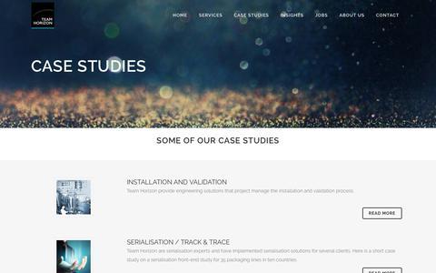Screenshot of Case Studies Page teamhorizon.ie - Team Horizon   Success Stories Pharma Engineering - captured Nov. 1, 2017