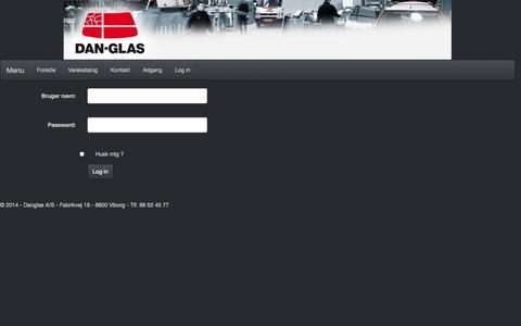Screenshot of Login Page danglas.dk - Log in - Danglas - eHandel - captured Oct. 27, 2014