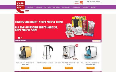 Screenshot of Products Page cafecoffeeday.com - Coffee makers, powder, espresso, mugs, cups, cakes, gift vouchers, chocolates, Tea from Coffee Day - captured Sept. 24, 2014