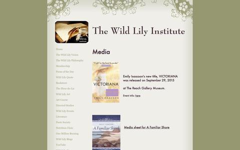 Screenshot of Press Page emilyisaacsoninstitute.com - The Wild Lily Institute - Media - captured Dec. 14, 2016