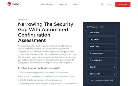 Narrowing The Security Gap With Automated Configuration Assessment Whitepaper | Qualys, Inc.